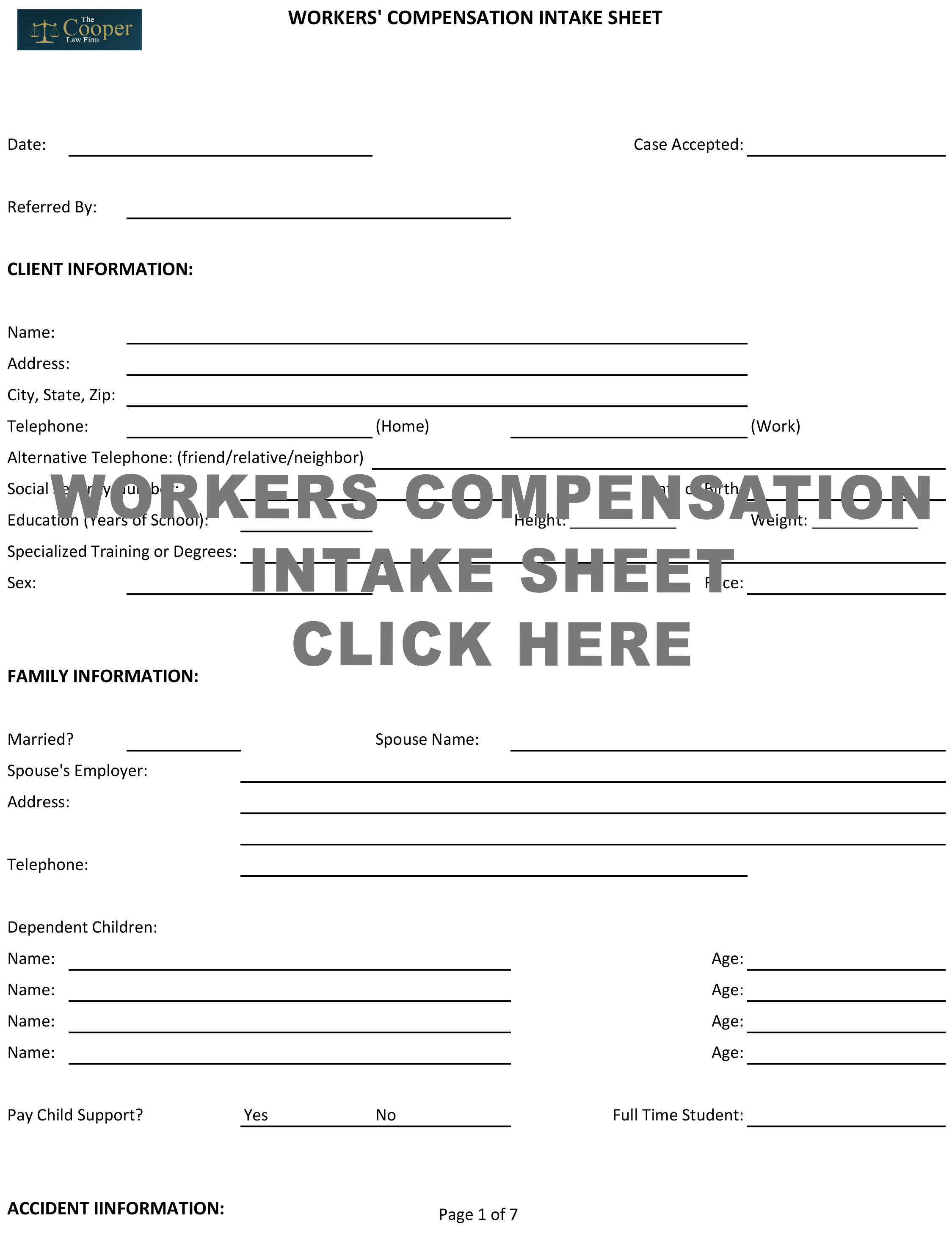Workers Compensation Intake Sheet